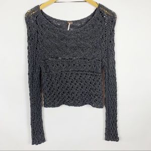 Free People XS Crochet Long Sleeve Gray Sweater